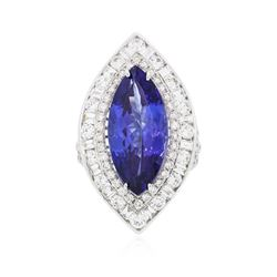 18KT White Gold GIA Certified 10.54 ctw Tanzanite and Diamond Ring