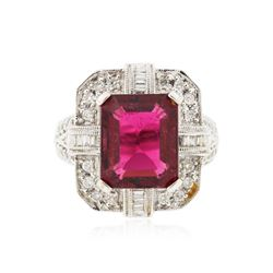 14KT White Gold GIA Certified 6.65 ctw Tourmaline and Diamond Ring