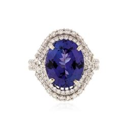 18KT White Gold 7.65 ctw Tanzanite and Diamond Ring