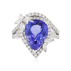 18KT White Gold 6.97 ctw Tanzanite and Diamond Ring