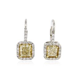 Platinum EGL USA Certified 2.44 ctw Fancy Yellow Diamond Earrings