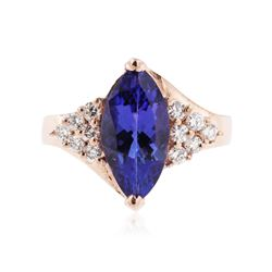 14KT Rose Gold 2.90 ctw Tanzanite and Diamond Ring