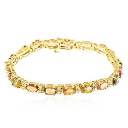 14KT Yellow Gold 15.58 ctw Multicolor Sapphire and Diamond Bracelet