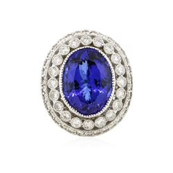 14KT White Gold GIA Certified 14.74 ctw Tanzanite and Diamond Ring