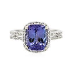 18KT White Gold 3.41 ctw Tanzanite and Diamond Ring