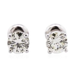 14KT White Gold 1.28 ctw Diamond Solitaire Earrings