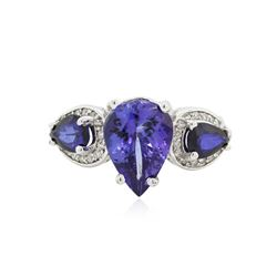 14KT White Gold 3.83 ctw Tanzanite, Sapphire and Diamond Ring