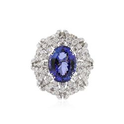 18KT White Gold 8.04 ctw Tanzanite and Diamond Ring