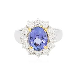 14KT Two-Tone Gold 3.24 ctw Tanzanite and Diamond Ring