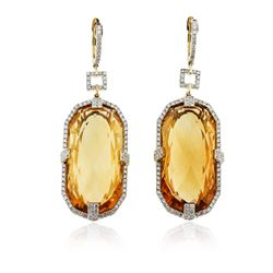 14KT Yellow Gold 55.54 ctw Citrine and Diamond Earrings
