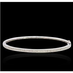 14KT White Gold 1.01 ctw Diamond Bangle Bracelet