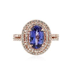 14KT Rose Gold 1.99 ctw Tanzanite and Diamond Ring