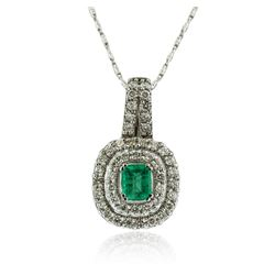 14KT White Gold 0.75 ctw Emerald and Diamond Pendant With Chain