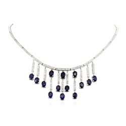 14KT White Gold 12.04 ctw Sapphire and Diamond Necklace