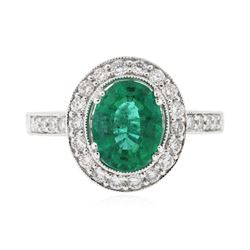 14KT White Gold 1.53 ctw Emerald & Diamond Ring