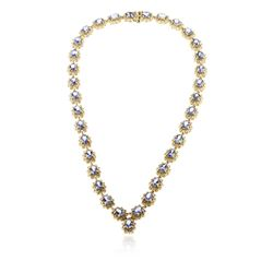 14KT Yellow Gold 24.95 ctw Tanzanite and Diamond Necklace
