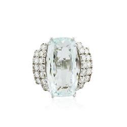14KT White Gold GIA Certified 15.62 ctw Aquamarine and Diamond Ring