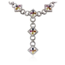 14KT White Gold 7.74 ctw Multicolor Sapphire and Diamond Necklace