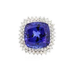 14KT White Gold GIA Certified 24.34 ctw Tanzanite and Diamond Ring
