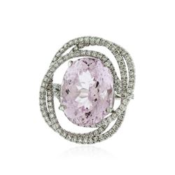 14KT White Gold 11.79 ctw Kunzite and Diamond Ring