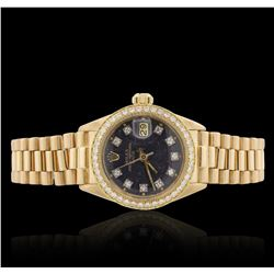 Ladies Rolex Date 18KT Yellow Gold 0.52 ctw Diamond Wristwatch