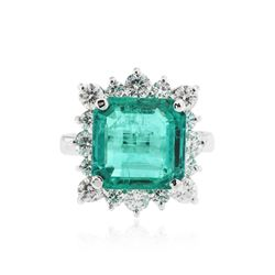 14KT White Gold GIA Certified 6.41 ctw Emerald and Diamond Ring
