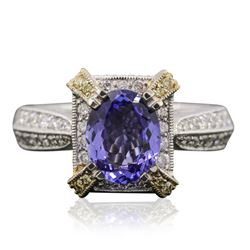 18KT Two-Tone Gold 1.69 ctw Tanzanite and Diamond Ring