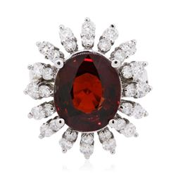 14KT White Gold 5.66 ctw Garnet and Diamond Ring