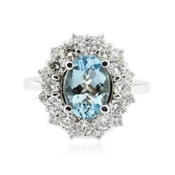 14KT White Gold 1.70 ctw Aquamarine and Diamond Ring