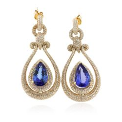 14KT Yellow Gold 17.82 ctw Tanzanite and Diamond Earrings