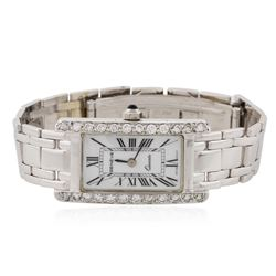Ladies Geneve 14KT White Gold 1.07 ctw Diamond Wristwatch