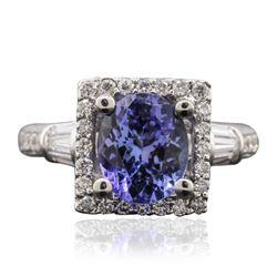 14KT White Gold 2.05 ctw Tanzanite and Diamond Ring