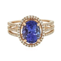 14KT Rose Gold 3.22 ctw Tanzanite and Diamond Ring