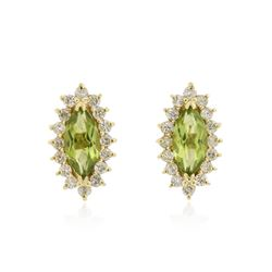 14KT Yellow Gold 1.40 ctw Peridot and Diamond Earrings