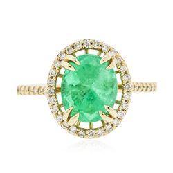 14KT Yellow Gold 2.97 ctw Emerald and Diamond Ring