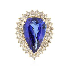 18KT Yellow Gold 17.41 ctw Tanzanite and Diamond Ring