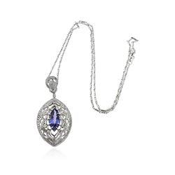 14KT White Gold 4.20 ctw Tanzanite and Diamond Pendant With Chain