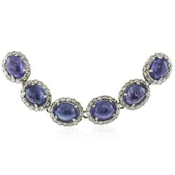 14KT White Gold 81.94 ctw Tanzanite and Diamond Necklace