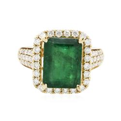 14KT Yellow Gold 4.43 ctw Emerald and Diamond Ring