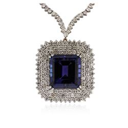 18KT White Gold GIA Certified 43.74 ctw Tanzanite and Diamond Necklace