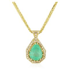 14KT Yellow Gold GIA Certified 18.18 ctw Emerald and Diamond Pendant With Chain