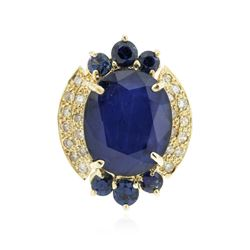 14KT Yellow Gold 10.94 ctw Sapphire and Diamond Ring