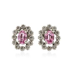 14KT White Gold 1.02 ctw Pink Sapphire and Diamond Earrings