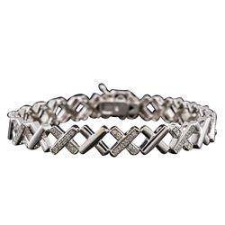 14KT White Gold 1.07 ctw Diamond Bracelet