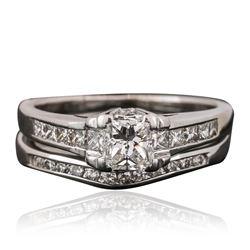 18KT-14KT White Gold 1.10 ctw Diamond Wedding Set