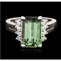 14KT White Gold 4.41 ctw Green Tourmaline and Diamond Ring