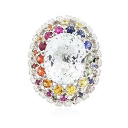 14KT White Gold 10.00 ctw Aquamarine and Sapphire Ring