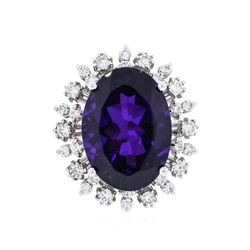 14KT White Gold 11.02 ctw Amethyst and Diamond Ring