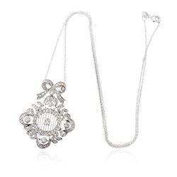 14KT White Gold 1.05 ctw Diamond Pendant With Chain