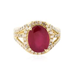 14KT Yellow Gold 5.36 ctw Ruby and Diamond Ring